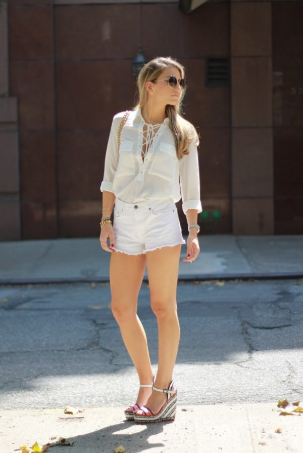 all-white-outfit-with lace up shirt bmodish