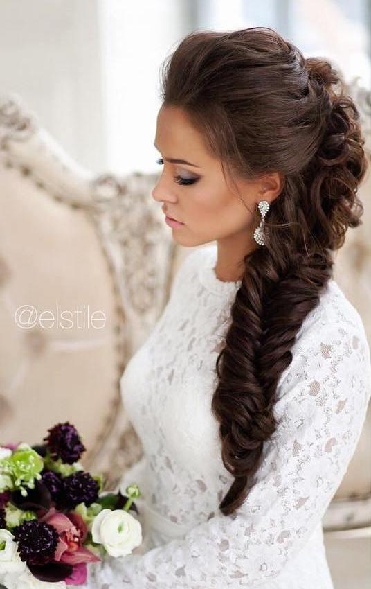 big fishtail wedding hairstyle with braid bmodish