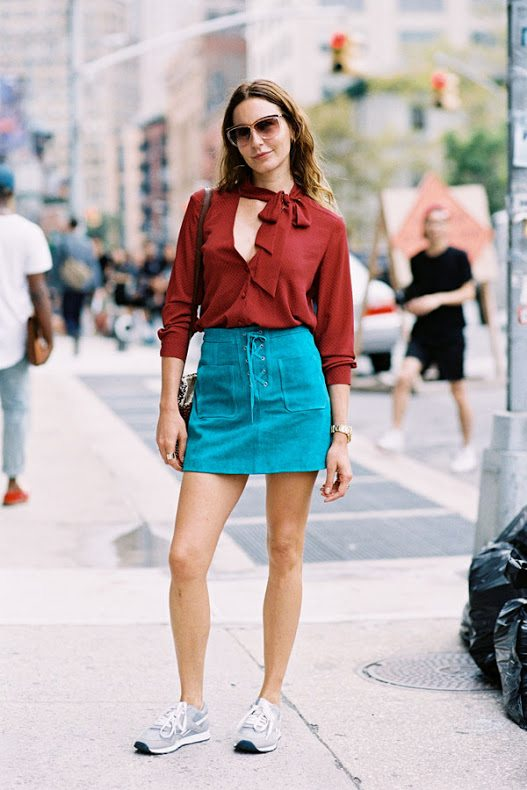 blue lace up skirt with blouse summer outfit bmodish