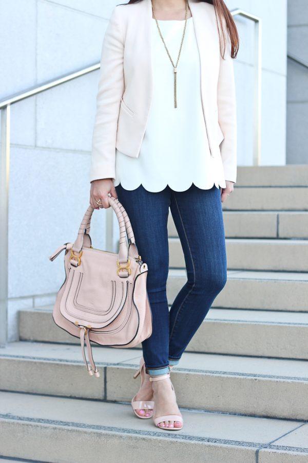 blush blazer with scalloped top bmodish