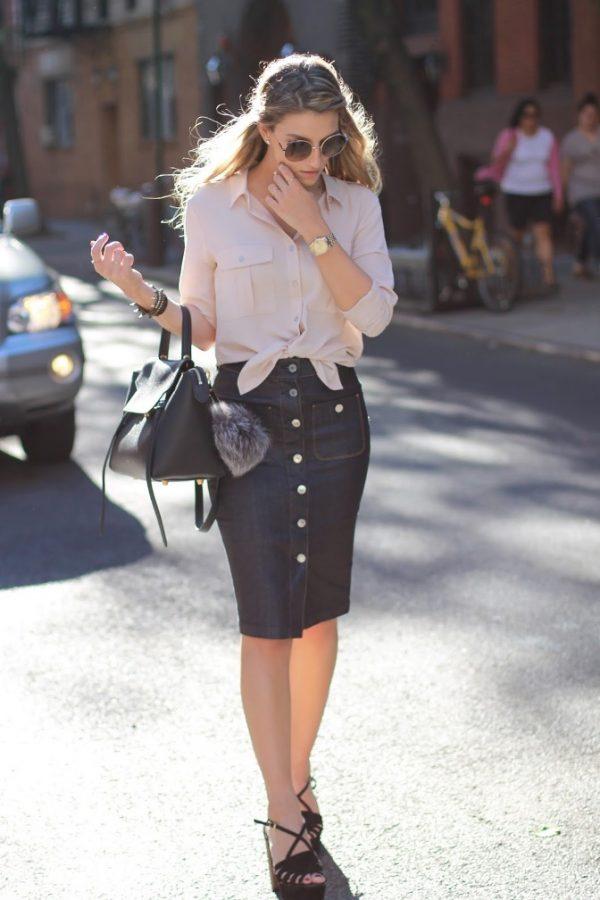 blush button front shirt with denim skirt bmodish