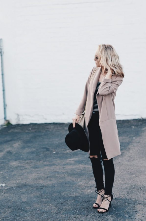 blush long blazer with skinny jeans outfit bmodish