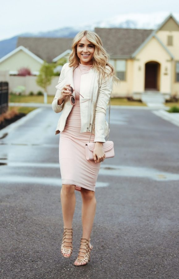 blush pink bodycon dress spring outfit bmodish