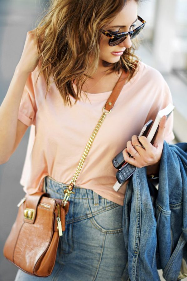 blush pink casual top with jeans skirt outfit bmodish