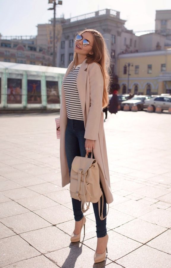 blush pink coat for early spring outfit bmodish