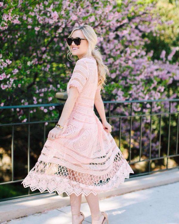 blush pink cut out summer dress bmodish