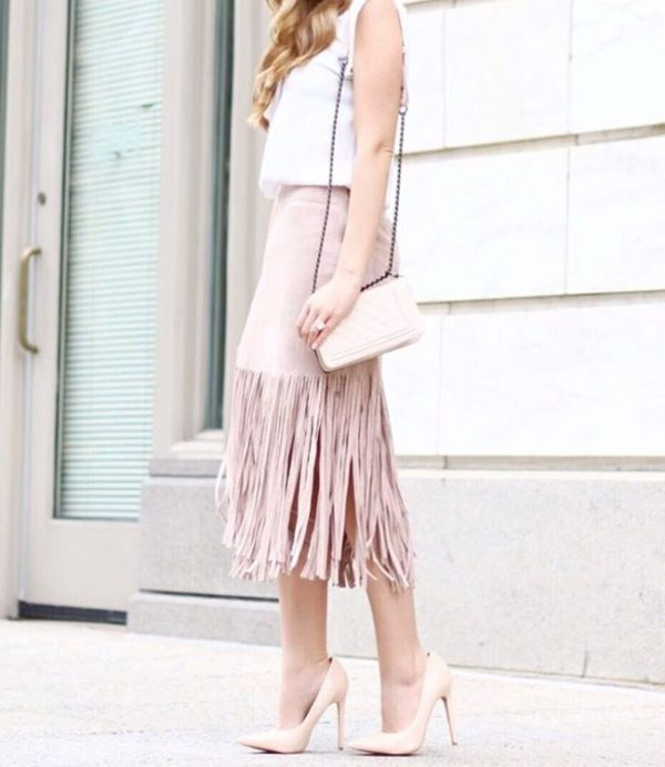 blush pink fringe skirt spring trends bmodish