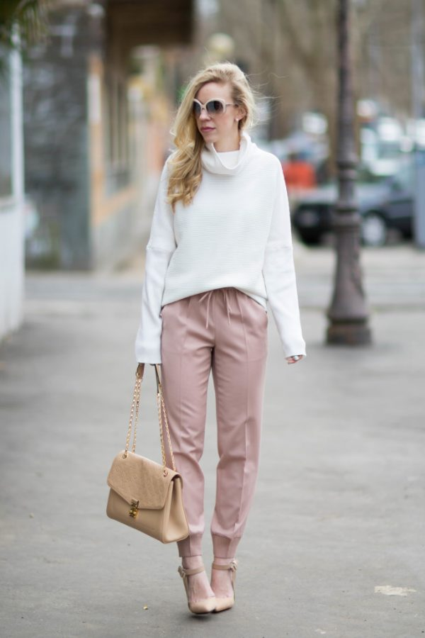 blush pink pants with oversize sweater outfit bmodish