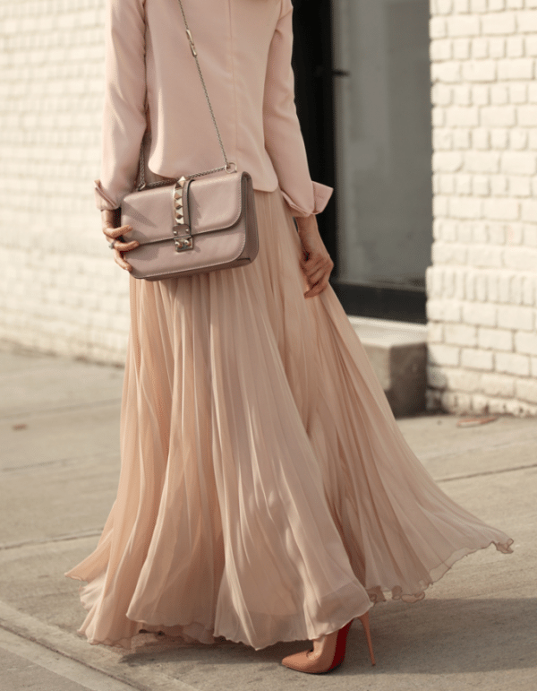blush pleated maxi skirt with blazer bmodish