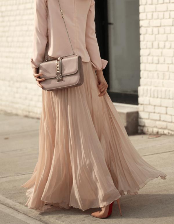 blush pleated maxi skirt with blazer bmodish