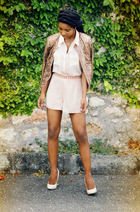 blush sequin outfit bmodish