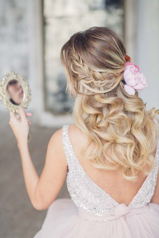 bride half up romantic wedding hairstyle bmodish