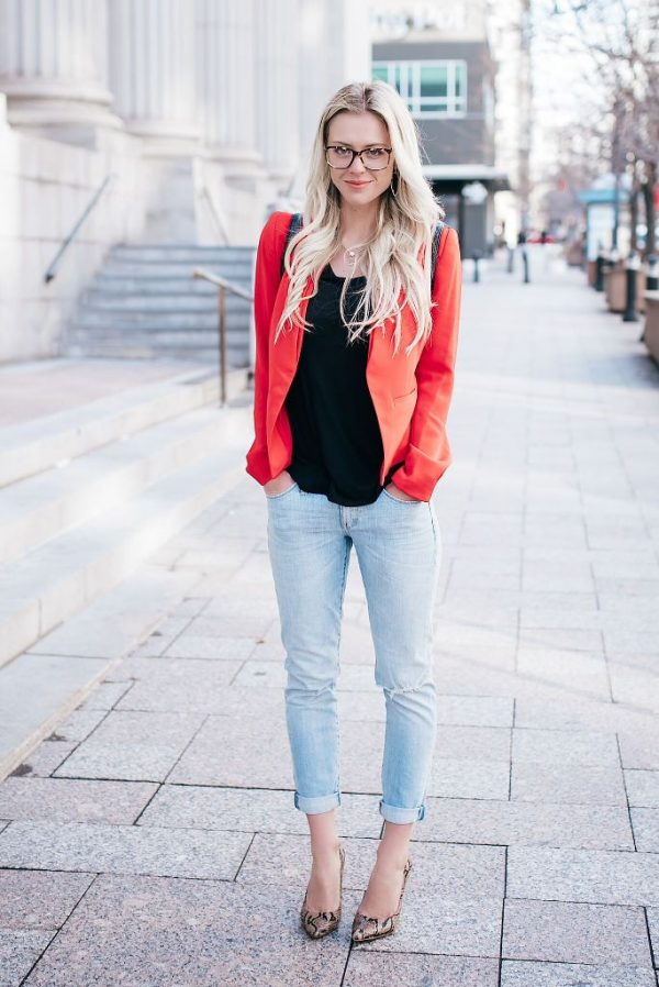 casual spring style with colored blazer bmodish