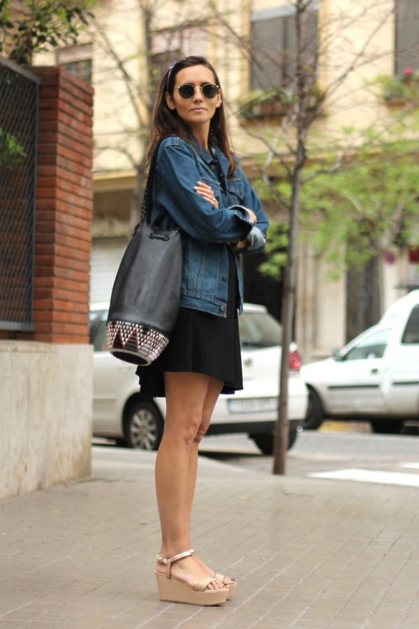 casual spring summer denim jacket summer dress and bandana bmodish