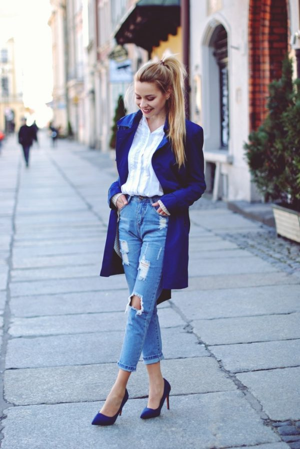 cobalt blue trench coat spring fashion bmodish
