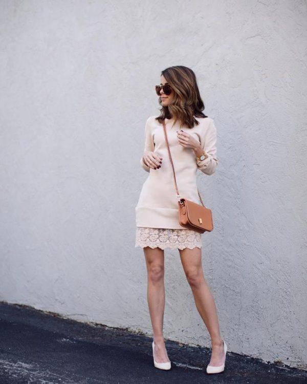 cute blush sweater dress with lace detail bmodish