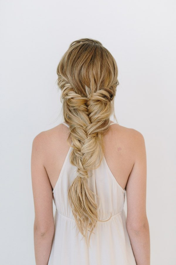 fishtail into half up wedding hair bmodish