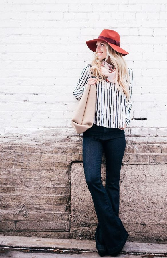 flare jeans with shirt and floral scarf spring outfit bmodish