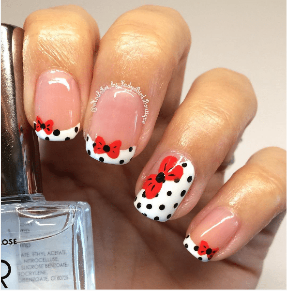 50 cute bow nail art designs be modish french bow nail design bmodish prinsesfo Images