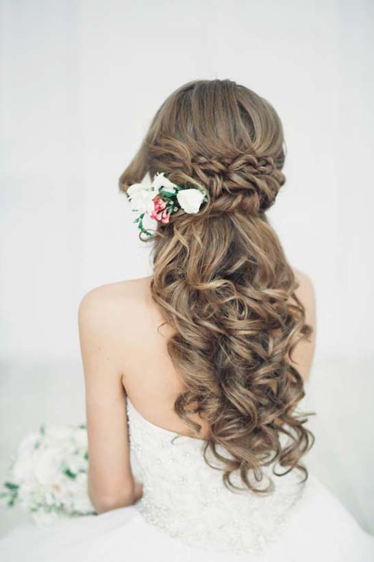 half up half down braided wedding hair bmodish