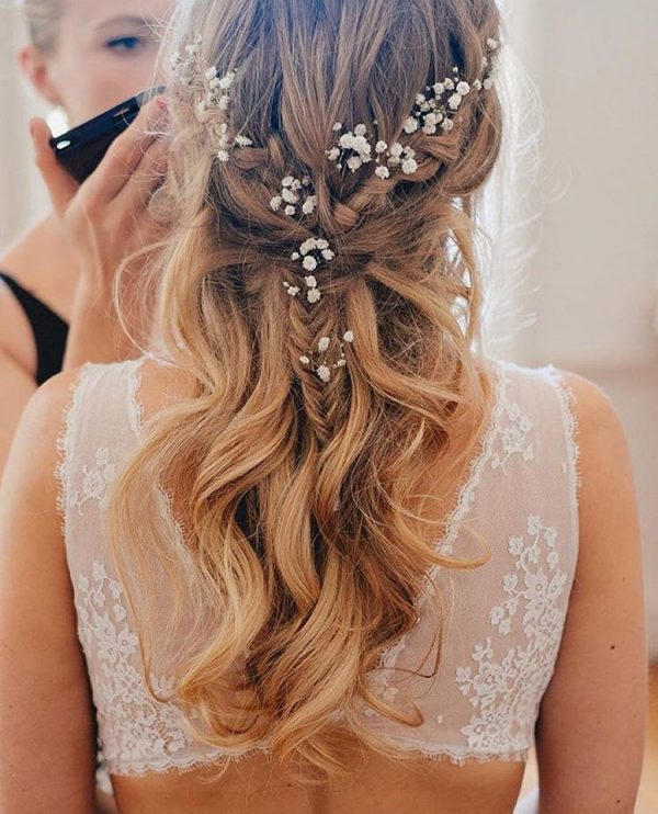 half up half down fishtail braid bridal hair bmodish
