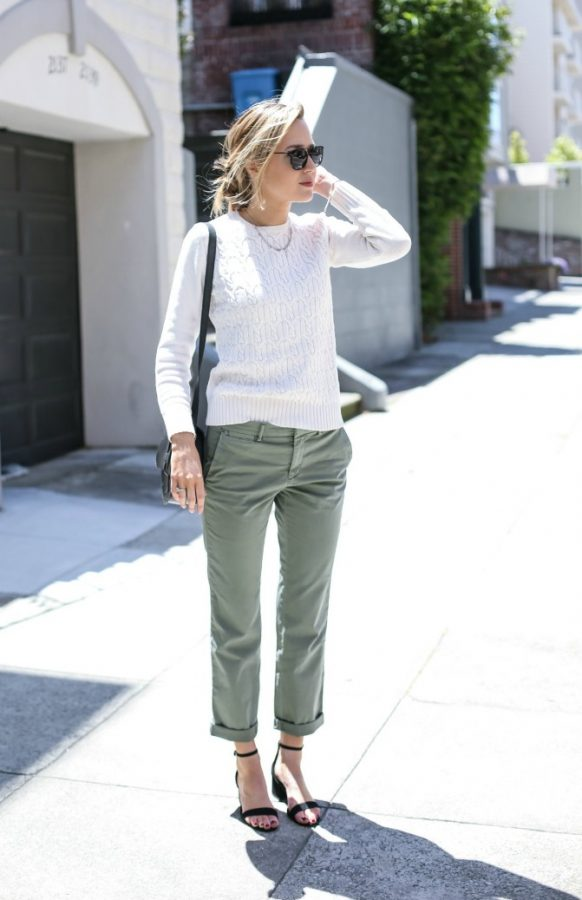 khaki chino with sweater casual spring outfit idea khaki pants outfit bmodish