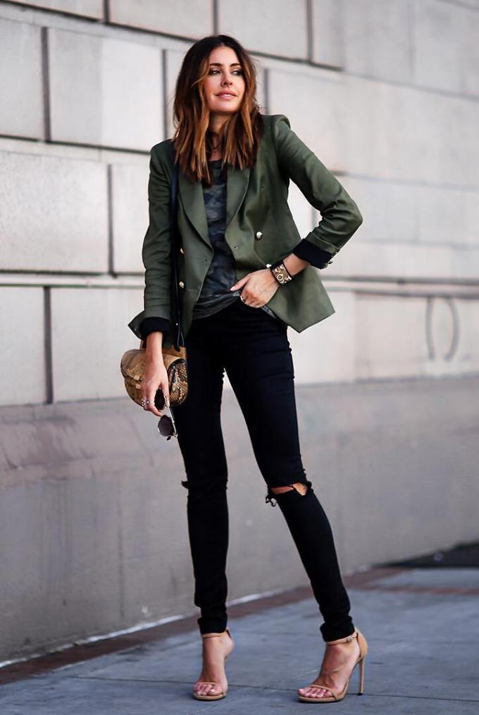 khaki green blazer casual outfit bmodish