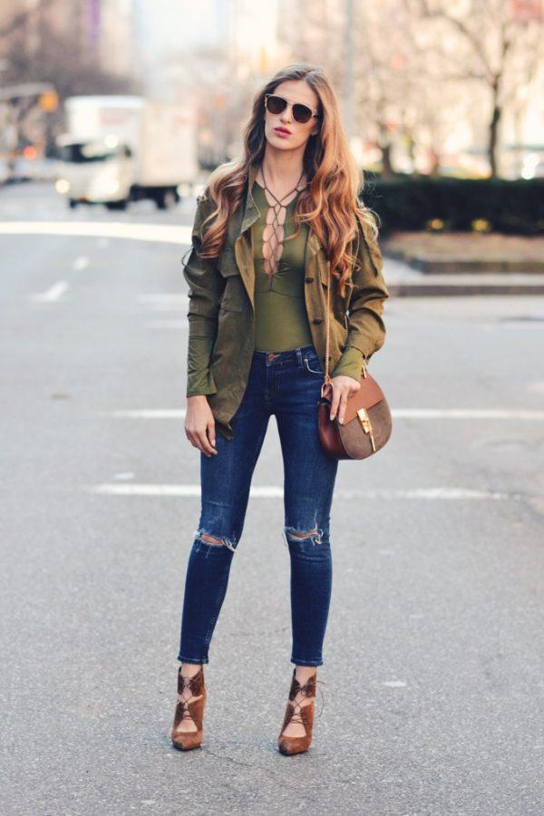 khaki green bodysuit outfit khaki looks bmodish