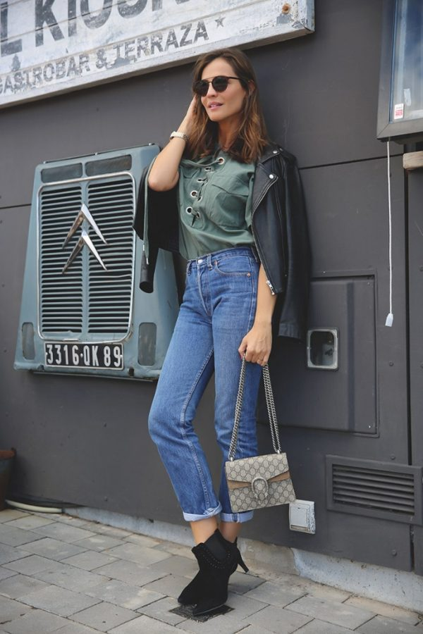 khaki green lace up shirt outfit look bmodish