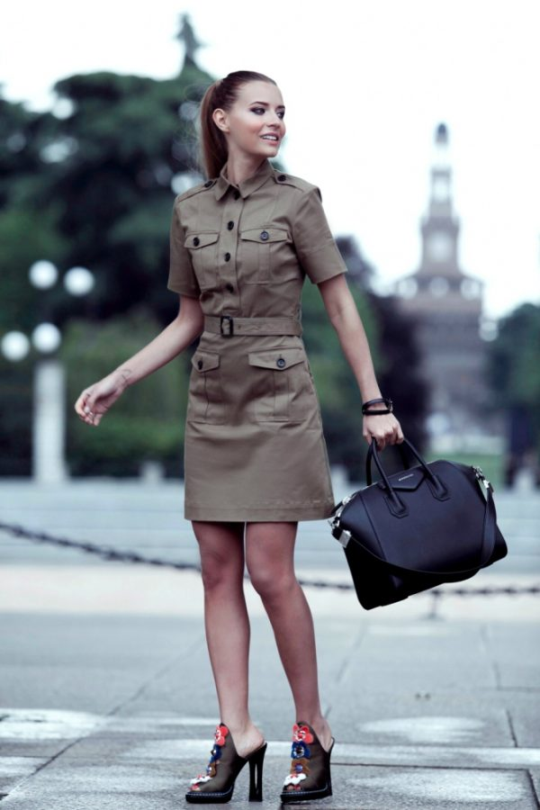 khaki green military shirt dress style outfit bmodish