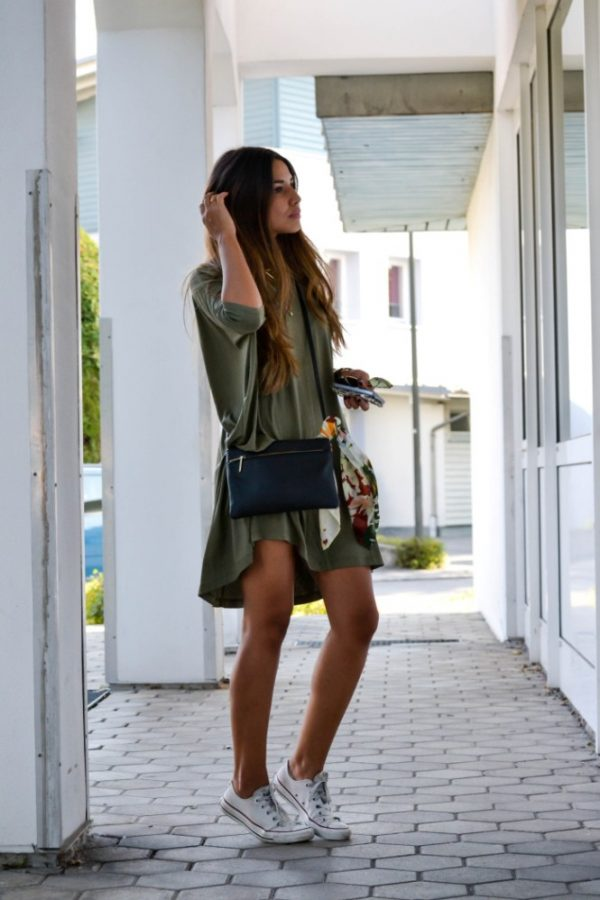 khaki green summer dress outfit bmodish