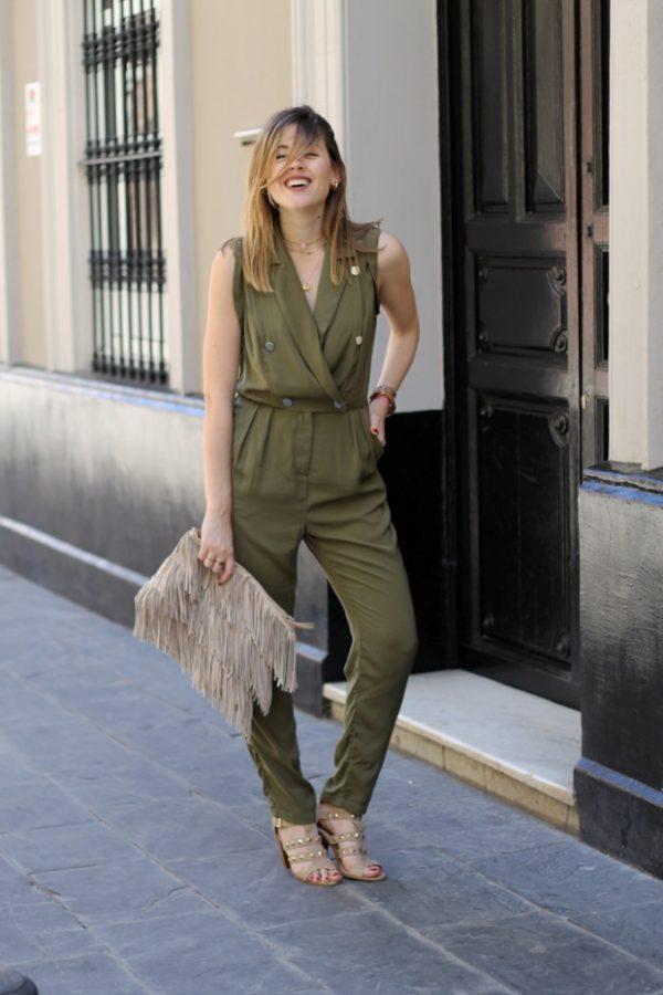 khaki military jumpsuit outfit bmodish