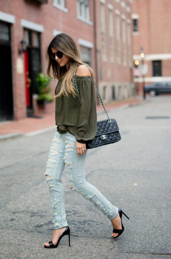 khaki off the shoulder top asos bmodish