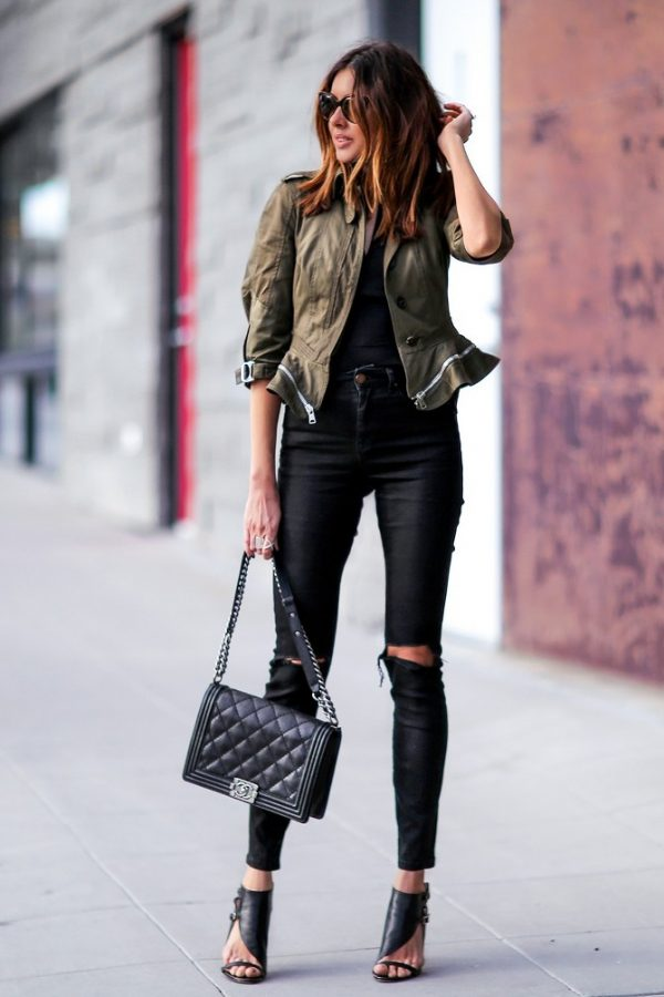 khaki peplum jacket casual outfit bmodish