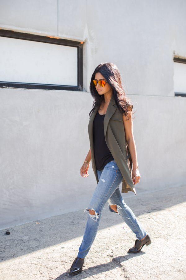 khaki sleeveless vest casual summer outfit bmodish