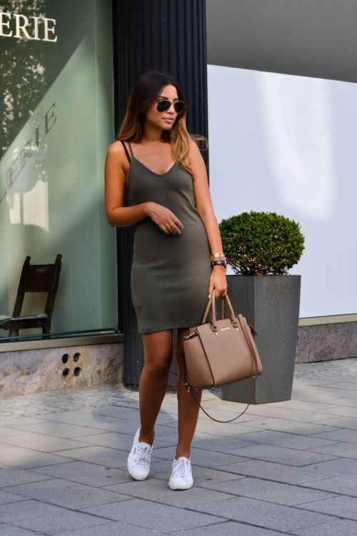 khaki summer dress casual outfit bmodish