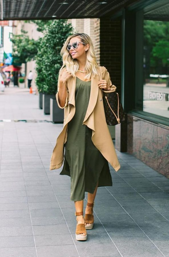 khaki summer dress with tan long vest spring outfit bmodish
