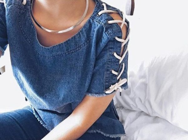lace up denim top bmodish