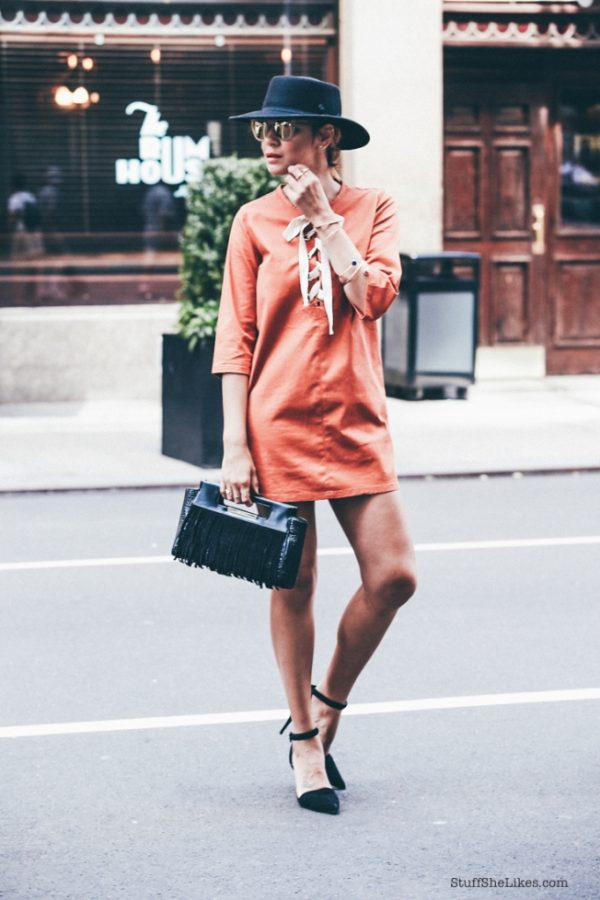 lace up shirt dress street style outfit bmodish
