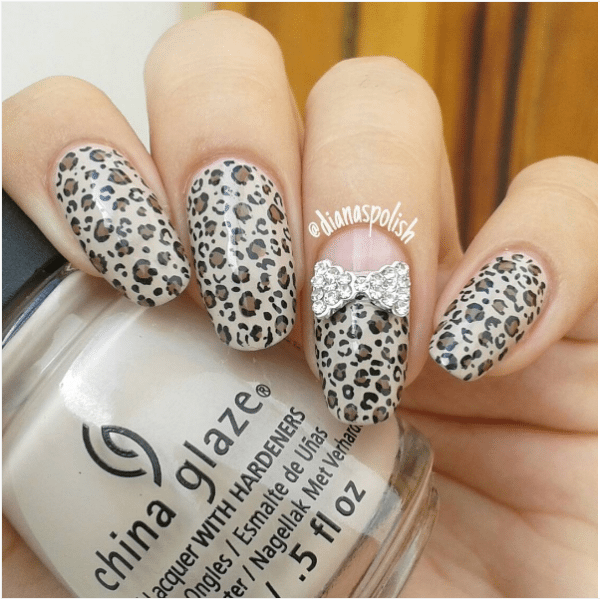 50 cute bow nail art designs be modish leopard and bow nail design bmodish prinsesfo Images