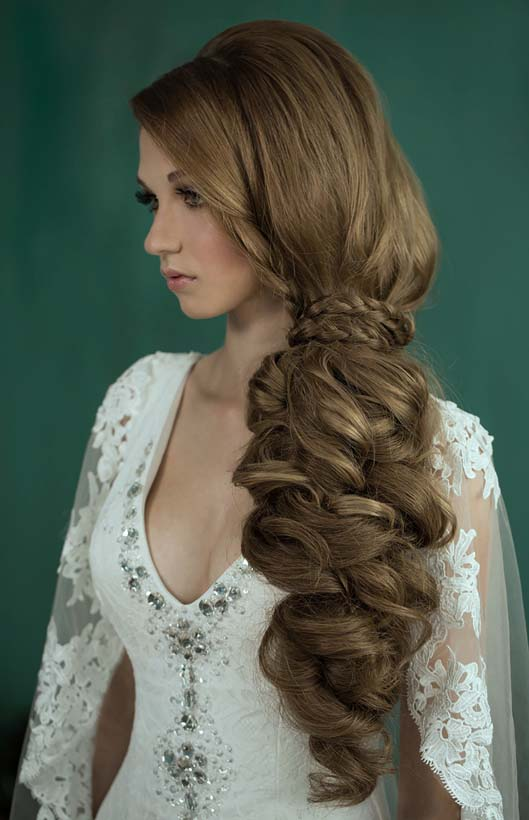 long hair braided wedding hairstyle bmodish