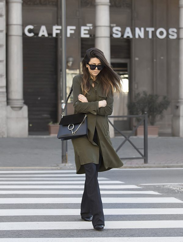 long khaki shirt military style spring outfit bmodish
