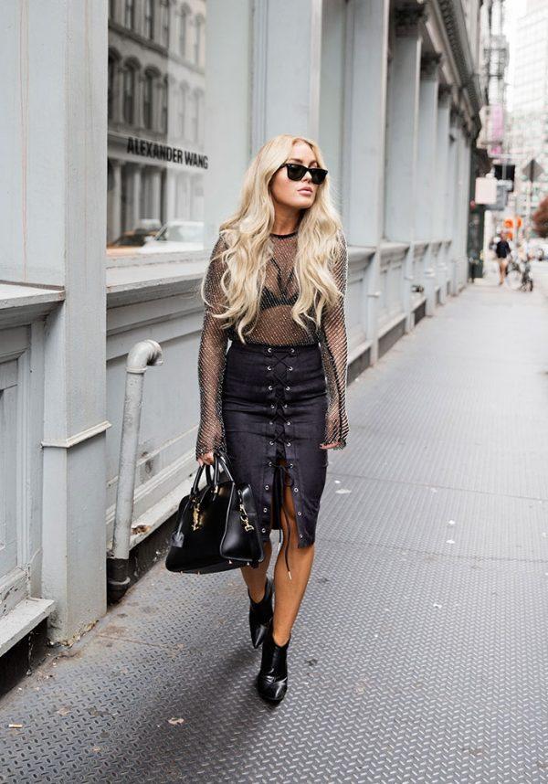 midi leather lace up pencil skirt bmodish