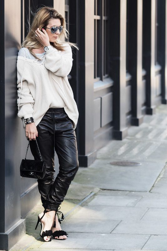 mixed lace up and leather pants bmodish