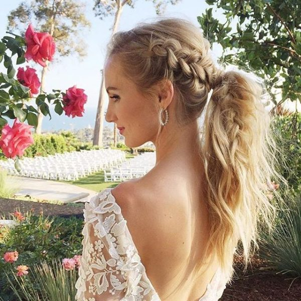 Modern Side Braid Ponytail Bridal Hairstyle Bmodish