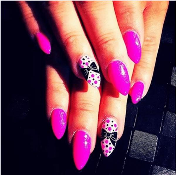 neon pink bow almond shape nail design bmodish
