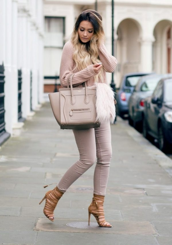 nude blush pink sweater weather outfit bmodish