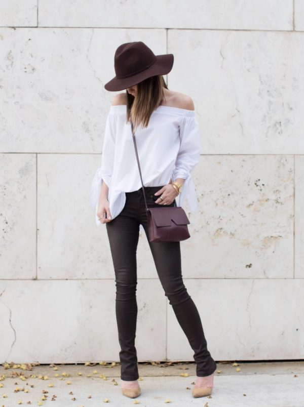 off shoulder blouse with skinny jeans and pumps spring outfits 2016 bmodish