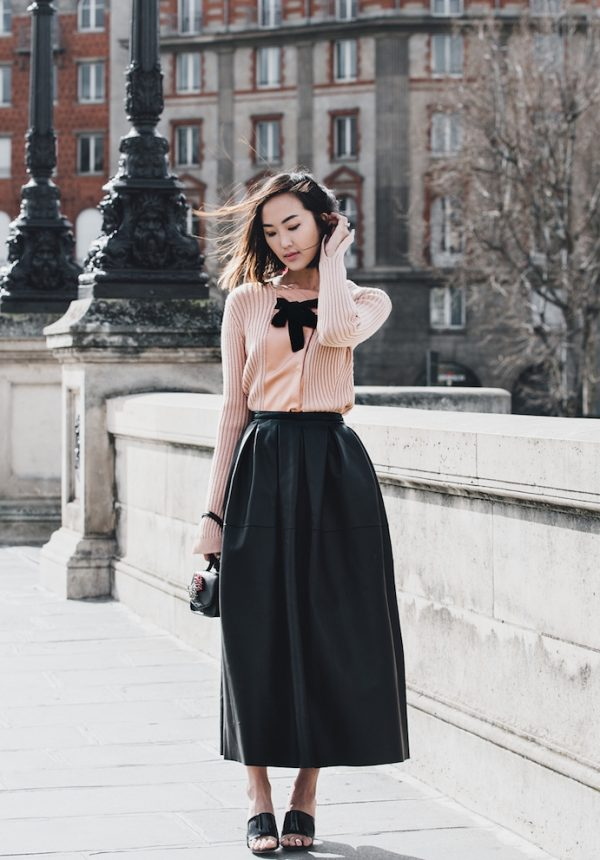 paris-leather-pleated-skirt-and-blush-bow-sweater bmodish