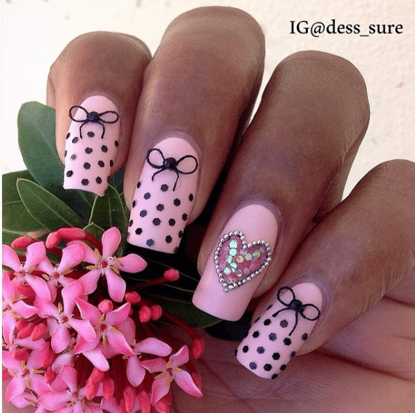 50 cute bow nail art designs be modish pink and polka dot bow nail design bmodish prinsesfo Images